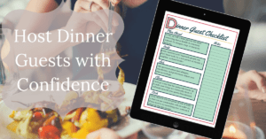 woman eating dinner with image of dinner guest checklist