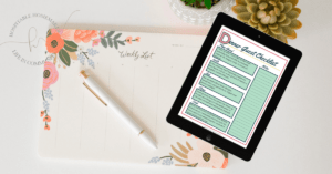 image of the dinner guest checklist on a tablet