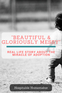 "child playing outside text overlay: ""beautiful and gloriously messy"" real life story about the miracle of adoption"