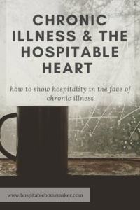 single cup of coffee in front of frosty window with text overlay - Chronic Illness and the Hospitable Heart