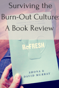 """Woman holding the book """"refresh"""" with text overlay surviving the burn-out culture"""
