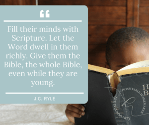 little boy reading Bible in bed with text overlay of quote from J.C. Ryle