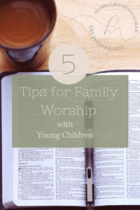 Bible and coffee cup with pen and text overlay 5 tips for family devotions with young children