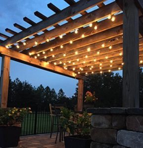 backyard pergola with edison lights