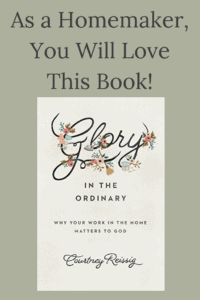 cover of the book glory in the ordinary (about work in the home) with text overlay