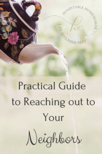tea pot pouring water with text overlay practical guide to reaching our to your neighbors