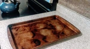 photo of burned cookie sheet from the story about the flames in the kitchen