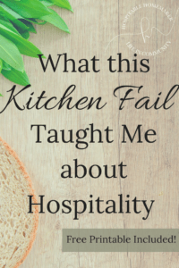 bread on a cutting board with text overlay what this kitchen fail taught me about hospitality