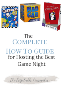 photos of board games with text overlay the complete how to guide for hosting the bets game night