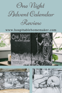 photos of one night advent calendar with text overlay about review