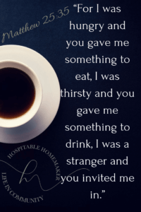 coffee cup on dark background with text overlay from the book of Matthew