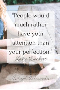 two women holding coffee with text overlay of Katie Deckert quote