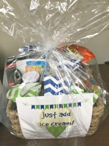 ice cream gift basket as neighbor Christmas gift