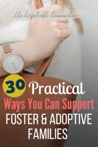 woman carrying purse with text overlay 30 practical ways you can support foster and adoptive families