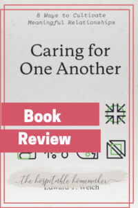 Pinterest image with cover of the book caring for one another