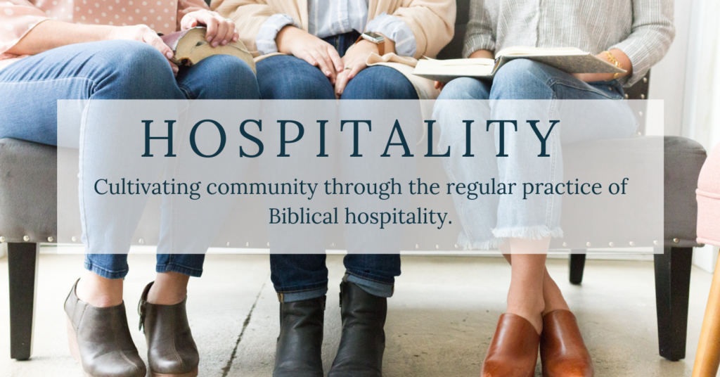 women gathering with text overlay : hospitality