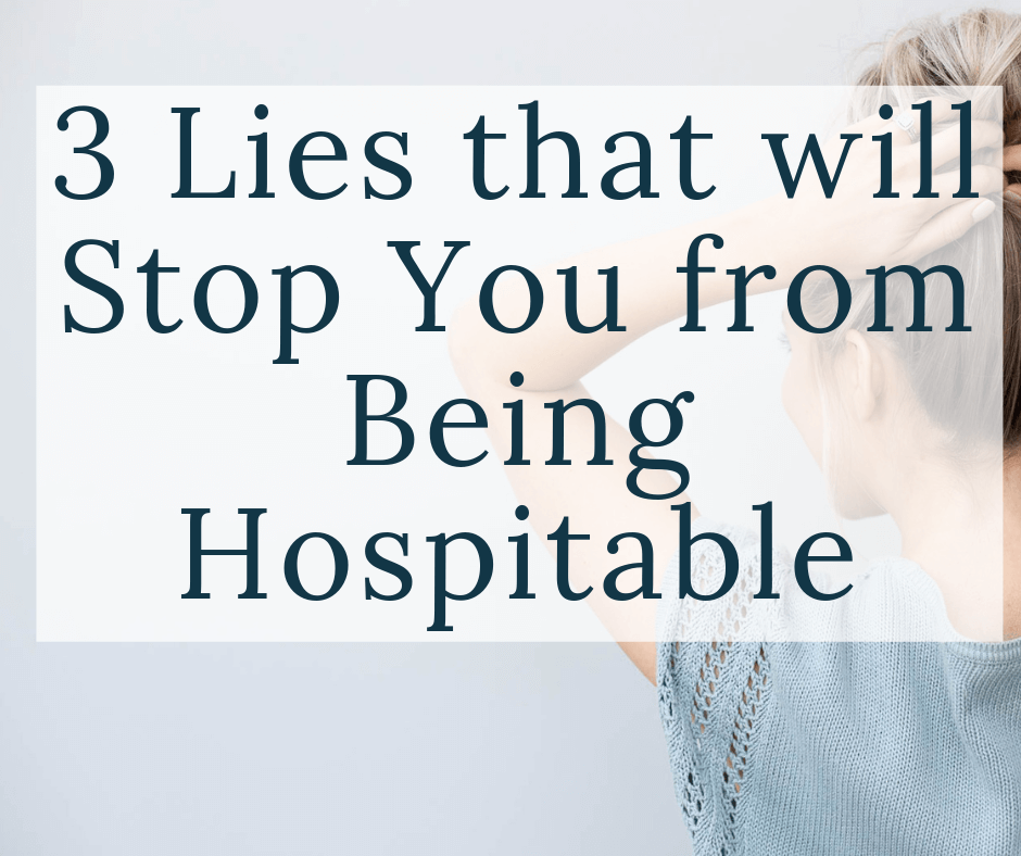 woman putting hair in bun with text overlay 3 lies that will stop you from being hospitable