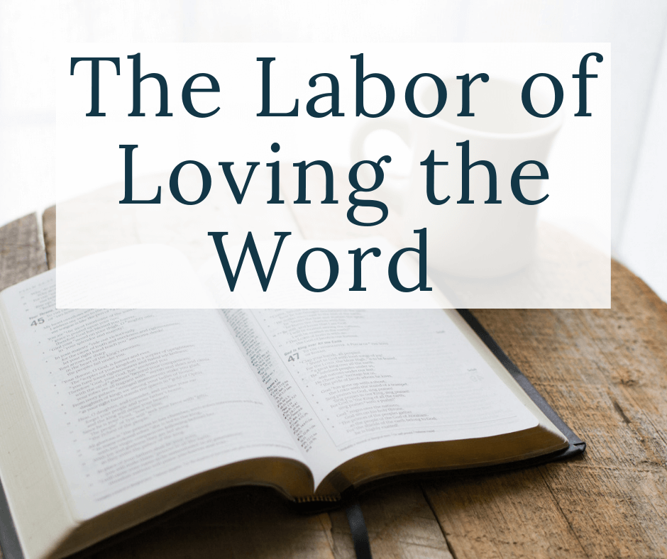 bible with text overlay the labor of loving the word